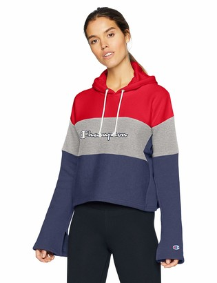 Champion Life Women's Reverse Weave Cropped Colorblock Pullover Hood