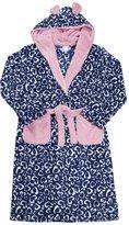 4KIDZ Childrens Girls Fleece Bath Robe (Ages 7-13) Animal Print Hooded Gown
