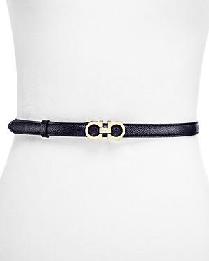 Salvatore Ferragamo Women's Skinny Gancini Leather Belt