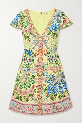 Alice + Olivia Alice Olivia - Hadley Floral-print Crepe De Chine Mini Dress - Yellow