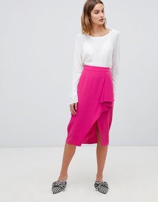 Gestuz Mia ruffle slit front midi skirt-Pink