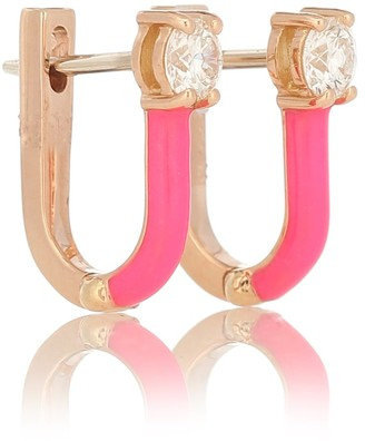 Melissa Kaye Aria 18kt rose gold hoop earrings with diamonds