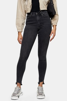Topshop Womens Tall Washed Black Jaggered Hem Jamie Skinny Jeans - Washed Black