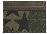 Valentino 'Camustars' leather patch canvas card holder