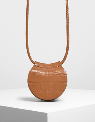 Charles & Keith Croc-Effect Necklace Bag