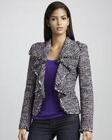 Neiman Marcus Drape-Front Tweed Jacket