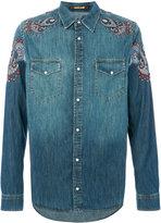 Roberto Cavalli patch embellished denim shirt - men - Cotton/Viscose - 50