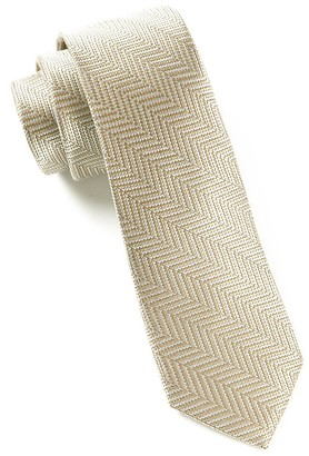 Tie Bar Native Herringbone Light Champagne Tie