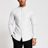 River Island Maison Riviera grey grandad slim fit shirt