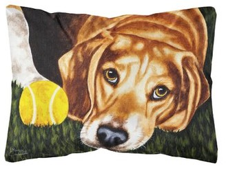 Winston Porter Walhill Have Ball Will Travel Beagle Fabric Indoor/Outdoor Throw Pillow