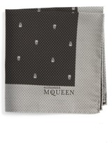 Alexander McQueen Men's Skull Dot Silk Pocket Square