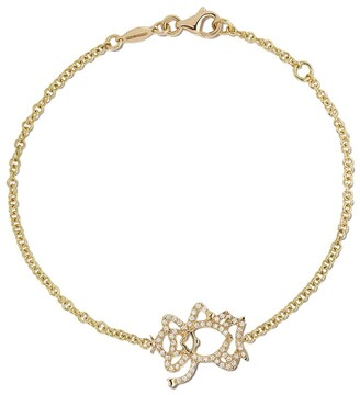 Kiki McDonough 18kt yellow gold Memories diamond monkey bracelet