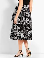 Talbots Graphic Garden Pleated Midi Skirt