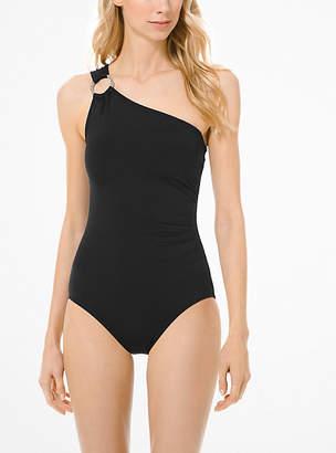 MICHAEL Michael Kors Ruched One-Shoulder Swimsuit