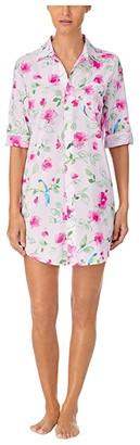 Lauren Ralph Lauren Classic Wovens 3/4 Sleeve His Sleepshirt (Pink Floral) Women's Pajama