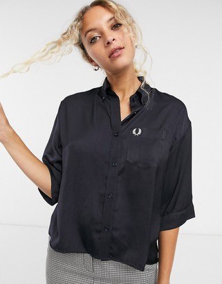Fred Perry oversized boxy shirt in navy