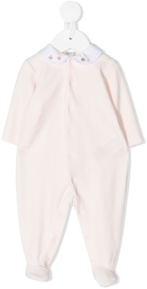 Bonpoint Embroidered Contrast-Collar Pajamas
