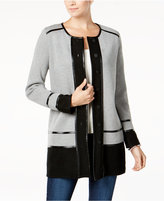 Charter Club Faux-Leather Trim Cardigan, Created for Macy's