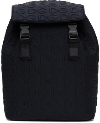 Dolce & Gabbana Black Neoprene Embossed Logo Backpack