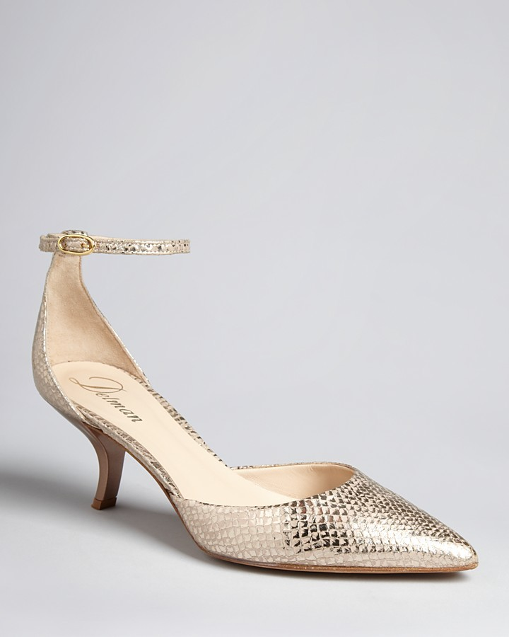 Delman Pointed Toe Ankle Strap Evening Pumps - Roma