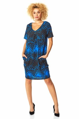 Roman Originals Women Animal Print Dress Pockets Ladies Leopard Shift Jersey Slouch Oversized Fit Work Party Casual Smock Smart V Neck Stretchy Loose Cocoon Tunic - Brown - Size 18