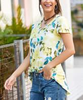 Reborn Collection Women's Tunics Yellow - Yellow & Aqua Floral V-Neck Tee - Women