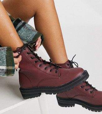 Raid Wide Fit Exclusive Vinita flat chunky lace-up ankle boots in burgundy