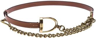 Ralph Lauren Brown Leather Vachetta Stirrup Chain Belt