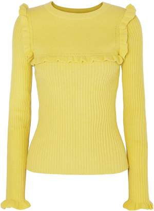 See by Chloe Ruffle-trimmed Ribbed Alpaca-blend Sweater