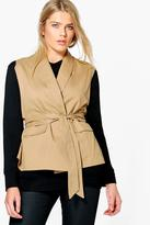 boohoo Plus Jane Sleeveless Tie Waist Utility Jacket tan