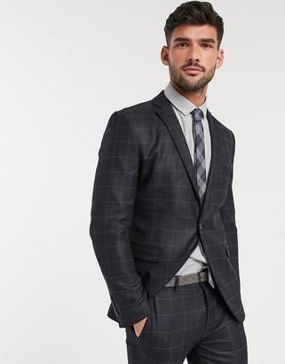 Selected skinny fit stretch suit jacket in gray check