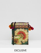 Reclaimed Vintage Embroidered Pom Detail Cross Body Bag