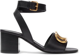 Valentino Go Logo Embellished Pebbled-leather Sandals
