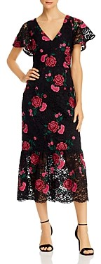 Shoshanna Audette Rose Embroidered Lace Midi Dress