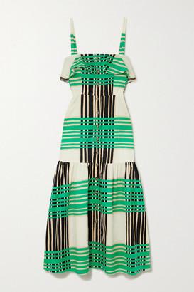 Borgo de Nor Florence Tiered Printed Cotton-sateen Midi Dress - Green