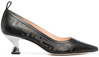 Fendi Logo-Print Low-Heel Pumps