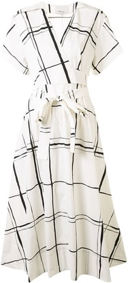 3.1 Phillip Lim Windowpane Print Wrap Dress