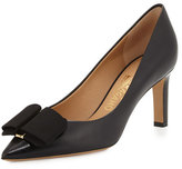 Salvatore Ferragamo Mimi Bow Leather Pump, Nero