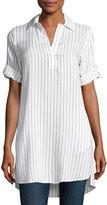 Neiman Marcus Short-Sleeve Pinstripe Tunic, White