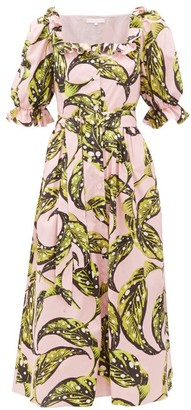 Borgo de Nor Corina Leaf-print Cotton Midi Shirt Dress - Pink Multi