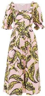 Borgo de Nor Corina Leaf-print Cotton Midi Shirtdress - Womens - Pink Multi
