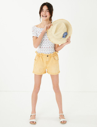 Marks and Spencer Cotton Paper Bag Waist Shorts (6-16 Yrs)