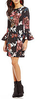 Trina Turk Panache Floral Bell Sleeve Sheath Dress