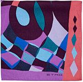 Etro Men's Abstract-Print Silk Twill Pocket Square-BLUE
