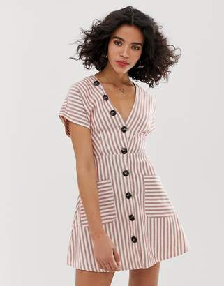 Moon River stripe skater dress with bow front-Red