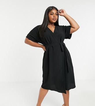 ASOS DESIGN Curve wrap midi dress in black