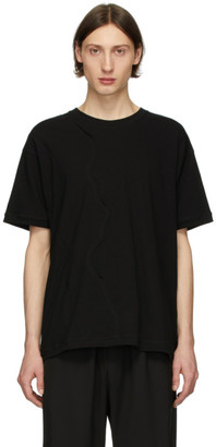 Isabel Benenato Black Detailed Front T-Shirt