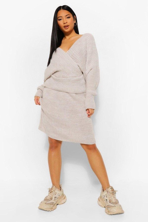 Thumbnail for your product : boohoo Petite Knitted Wrap Top and Skirt Co-Ord