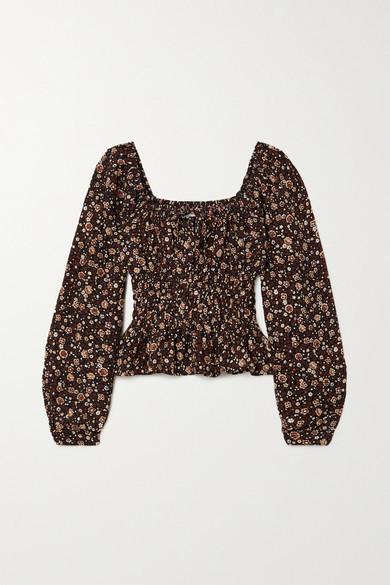 Faithfull The Brand Net Sustain Varena Shirred Floral-print Crepe Top