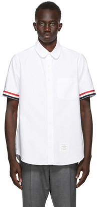 Thom Browne SSENSE Exclusive White Grosgrain Cuff Straight Fit Shirt